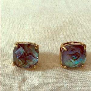NWOT Kate Spade stud earrings- green opal & gold